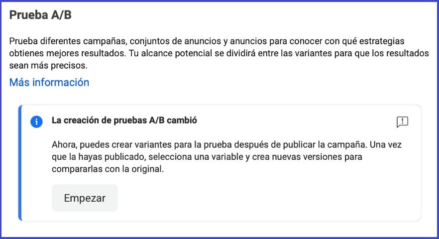 Facebook Business Manager - prueba a/b