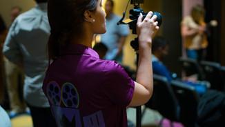 Videographer setting camera