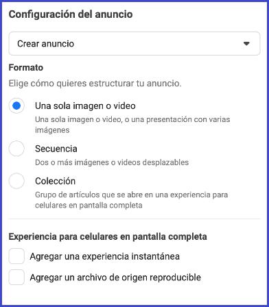 Facebook Business Manager - Configuracion del anuncio