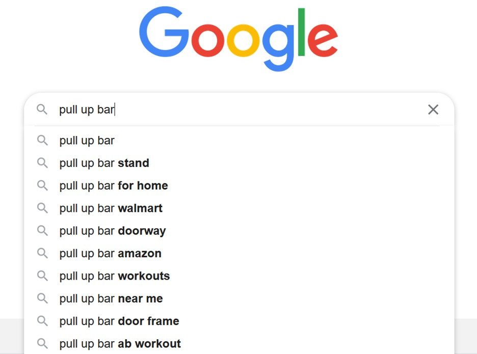 Getting exercise equipment keyword ideas by using Google search.