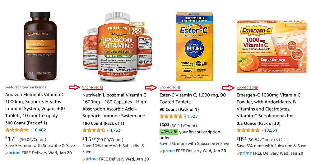 Example of sponsored products on Amazon.com