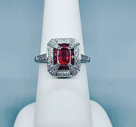 Art deco inspired Ruby and diamond ring