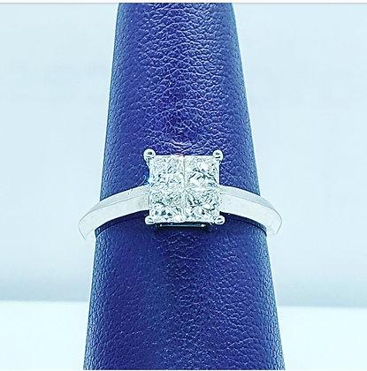 Princess cut cluster ring