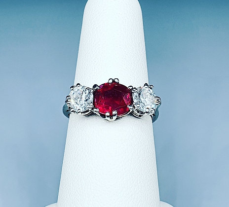 Antique ruby and diamond trilogy ring