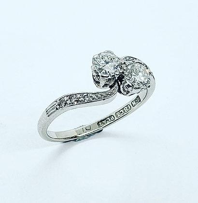 Antique diamond two stone