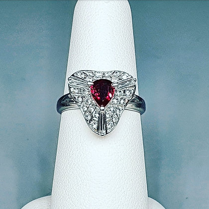Pear cut ruby and diamond ring