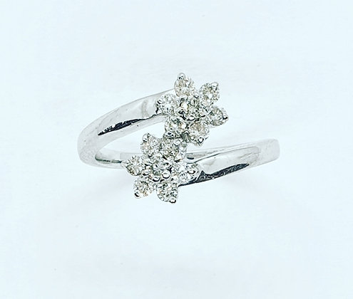 Diamond double cluster ring