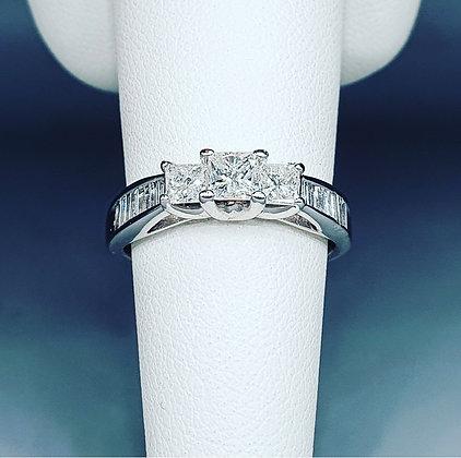 Princess cut diamond trilogy ring