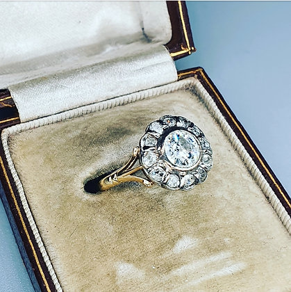 Antique diamond halo ring