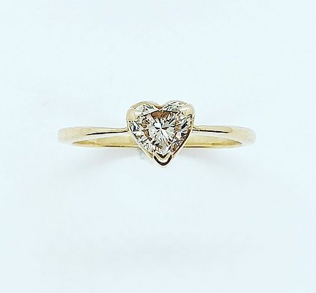 Diamond heart solitaire ring