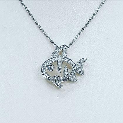 Diamond tropical fish necklace