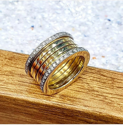 Diamond band coil ring