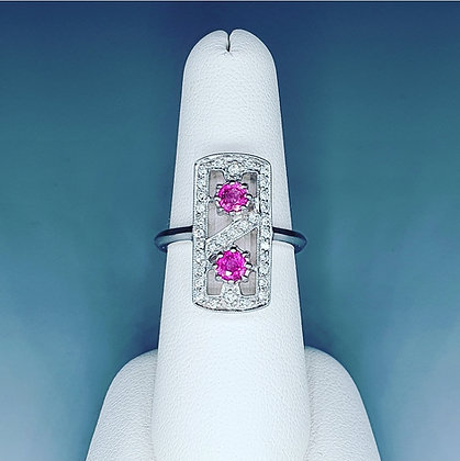 Art deco inspired pink sapphire and diamond ring