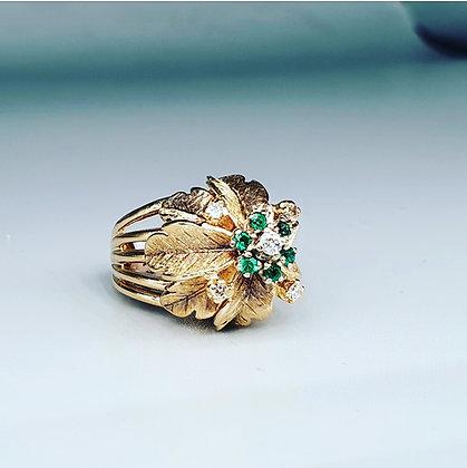 'Kimberley' emerald and diamond ring