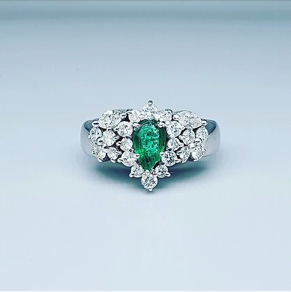 Pear cut emerald and diamond cluster ring