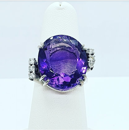 Amethyst and diamond cocktail ring