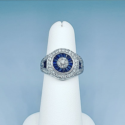 Art deco inspired sapphire and diamond cluster ring