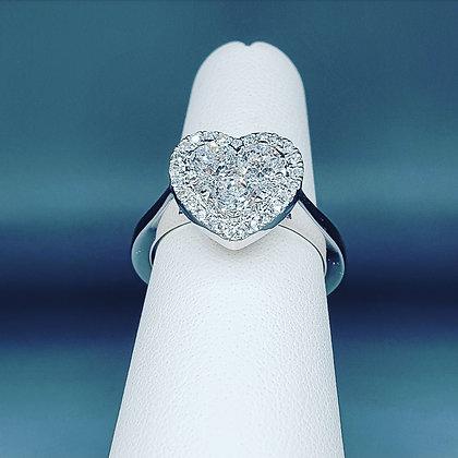 Diamond heart cluster ring