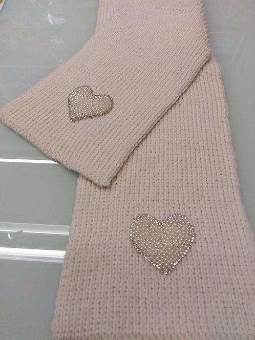 Sciarpa ragazza col. Panna - merino- cm 116x16 con con cuori in perle e strass