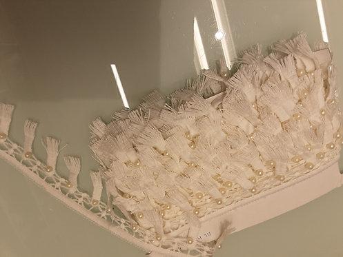 Passamaneria frange con perle, bianca