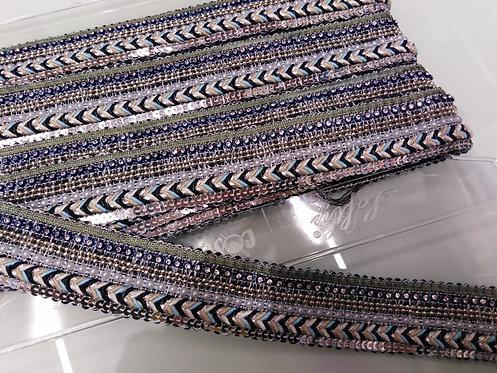 Passamaneria cm 3.5 perle e strass, nei toni grigio / azzurro