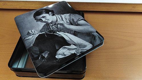 scatola per cucito vintage cm.16x19 h.cm.4.5