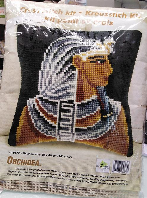 Kit cuscino punto croce completo di fili e ago, cm 40 x 40