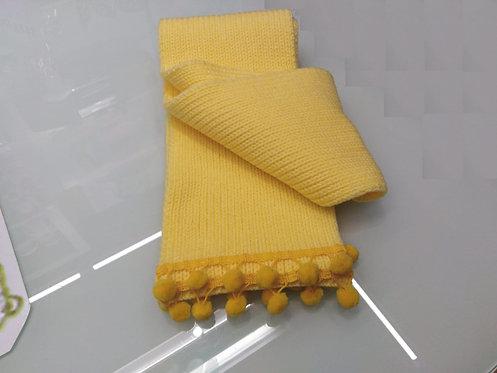 Sciarpa ragazzina gialla rifinita con passamaneria ponpom cm 135x15