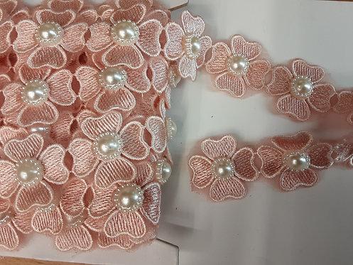 Passamaneria fiori rosa con perle