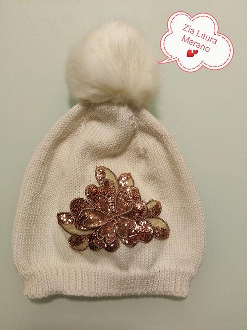 Cappello bianco donna lana merino extrafine pompon pelo ecolog elegante applicaz