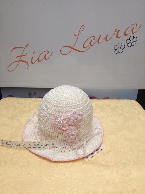 cappellino con tesa all'uncinetto 9/12 mesi