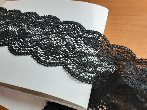 Pizzo elastico nero h. 7 cm.