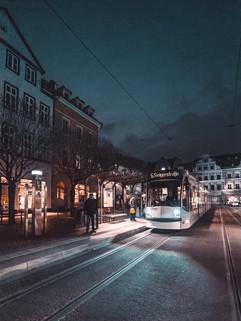 Straßenbahn. Innenstadt. Erfurt.