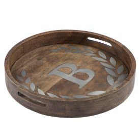 "WOOD/METAL 20"" ROUND TRAY ""B"""