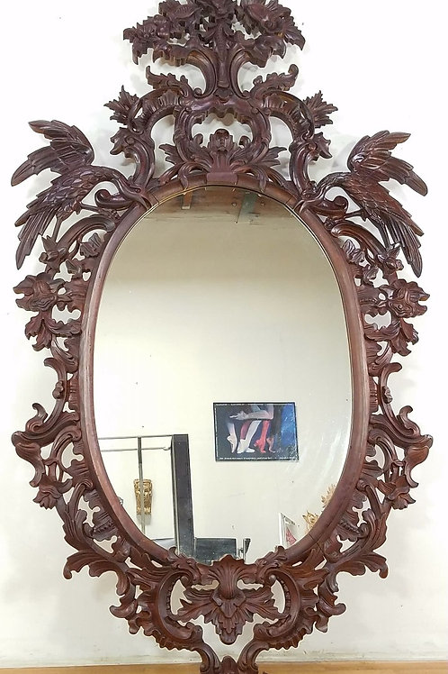 Rococo Chippendale Large Carved Wood Mirror