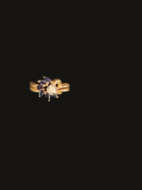 14kt 6 Sapphire 1 Diamond Ring