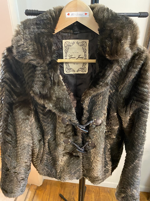 Faux Fur Brown Jacket with Removable Hoodie size M-L