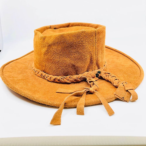 Vintage suede wire rimmed hat with braided ends