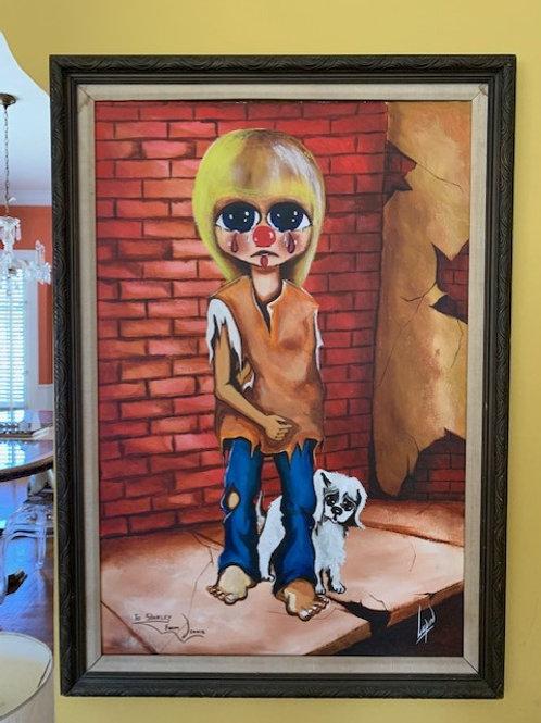 """Mid Century """"Big Eyes"""" Style Painting"""