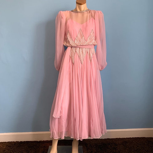 80's Chiffon Rose Pink Gown with Beautiful Beading