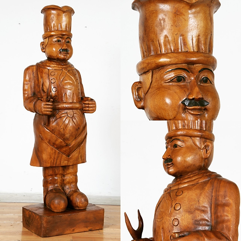 Large Carved wood chef