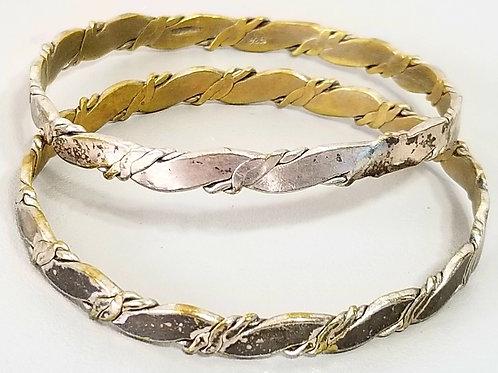 Set of 2. 925 Sterling silver twisted bracelet