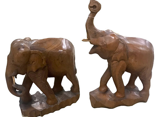 Pair Handmade Carved Teakwood Elephants