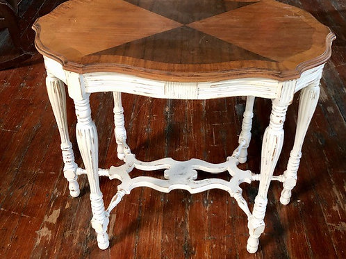 Table brown top white legs