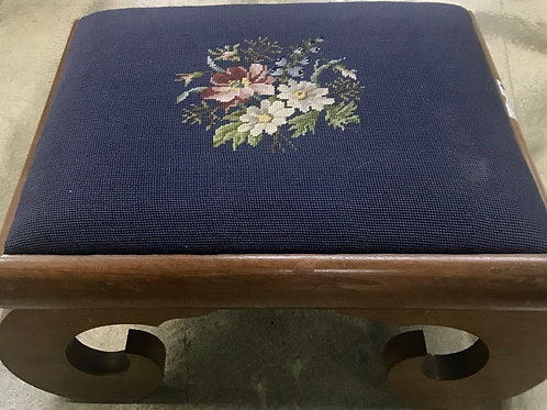 Vintage foot stool heavy wood needle point cushion