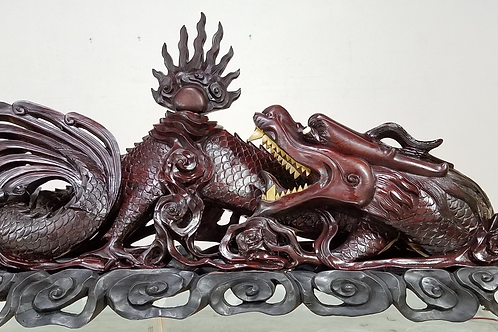 Antique Carved Rosewood Dragon with wood stand