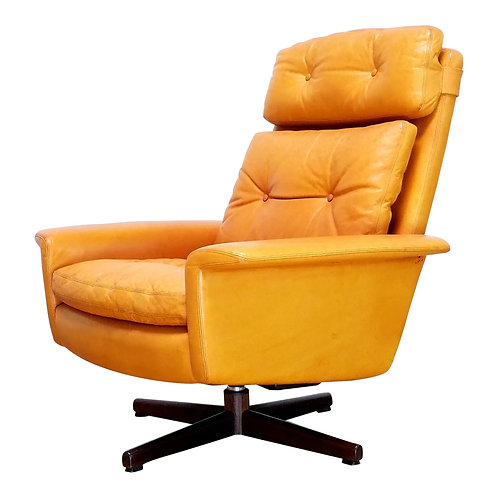 Leather Swivel Chair by Sigurd Ressell