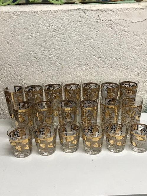 Barware glasses Midcentury Era - 19 Glasses
