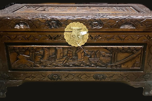 Hand Carved Wood Chest/Trunk