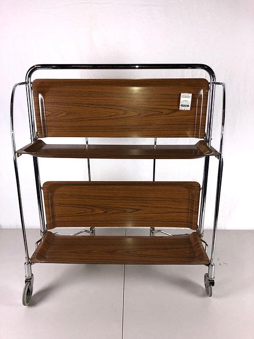 Vintage 1970's Formica & Chrome Folding Bar Cart